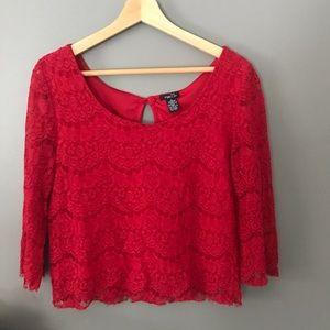 Rue 21 Red Lace Top   sz L ✨